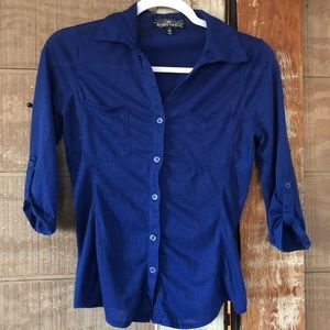 Royal Blue Cotton Button Down 💙 Small